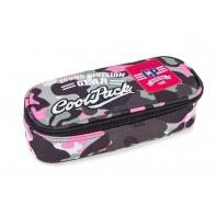 Usztywniany piórnik szkolny Coolpack Campus Camo Pink Badges A62112