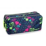 Trzykomorowa saszetka piórnik szkolny Coolpack Primus Lime Hearts, B60010