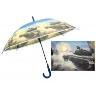 Duża automatyczna parasolka dziecięca z motywem czołgu