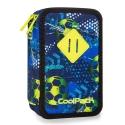 Potrójny piórnik z wyposażeniem, Coolpack Jumper 3 Football Blue