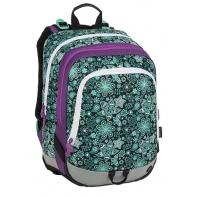 Plecak szkolny Bagmaster trzykomorowy, kwiatki