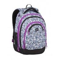Superlekki plecak szkolny Bagmaster, biało-fioletowy w trójkąty ENERGY9B