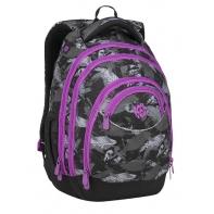 Superlekki plecak szkolny Bagmaster, szary w piórka ENERGY9A