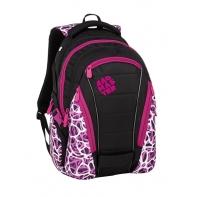 Młodzieżowy plecak Bagmaster trzykomorowy czarny z różowymi wstawkami