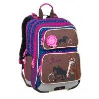 Plecak szkolny trzykomorowy Bagmaster koniki