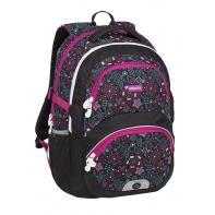 Lekki plecak szkolny Bagmaster różowo-niebieskie kwiatki