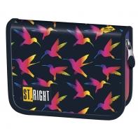 Piórnik jednokomorowy dwuklapkowy, St.Right Rainbow Birds PC3