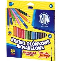 24 kredki ołówkowe akwarelowe sześciokątne Astra + pędzelek GRATIS