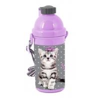 Bidon szkolny w kropki z kotkiem, Paso Studio Pets