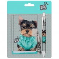 Zestaw pamiętnik + długopis z pieskiem w sweterku, Paso Studio Pets