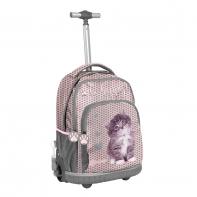 Plecak szkolny na kółkach Paso, w serduszka w kotkiem