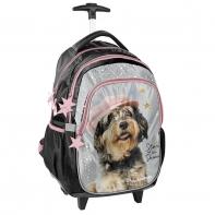 Plecak szkolny na kółkach Paso, pies w kaszkiecie