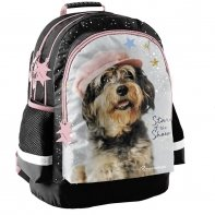 Plecak szkolny dla dziewczynki Paso, pies w kaszkiecie