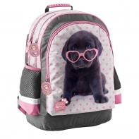 Plecak szkolny dla dziewczynki Paso, labrador w okularach