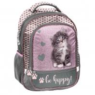 Plecak szkolny dla dziewczynki Paso, w serduszka z kotkiem