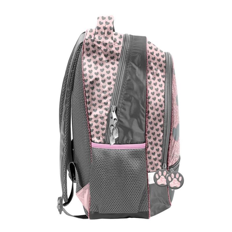 d23f535ce6421 Plecak szkolny dla dziewczynki Paso, w serduszka z kotkiem