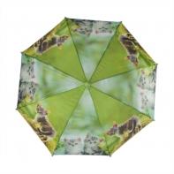 Automatyczna parasolka dziecięca z gwizdkiem, zielona w kotki