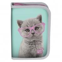 Piórnik jednokomorowy dwuklapkowy Paso, kotek w okularach