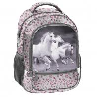 Plecak szkolny dla dziewczynki w kwiatki, konie w galopie, Paso