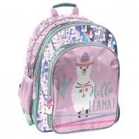 Lekki plecak szkolny Paso, różowy w lamy