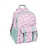 Lekki plecak szkolny Paso, różowo-miętowy w lamy