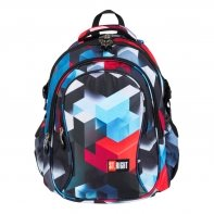 Trzykomorowy plecak szkolny St.Right 29 L, CZERWONE KLOCKI 3D BP1