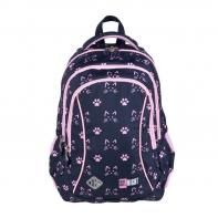 Dwukomorowy plecak szkolny St.Right 19 L, KOCIE ŁAPKI BP26