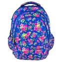 Trzykomorowy plecak szkolny St.Right 27 L, Flowers Navy Blue