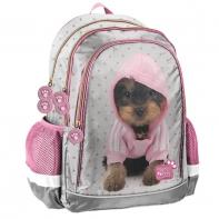 Lekki plecak szkolny dla dziewczynki Paso, PIESEK W BLUZIE