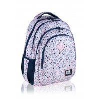 Trzykomorowy plecak szkolny młodzieżowy Astra Head, PINK TERRAZZO