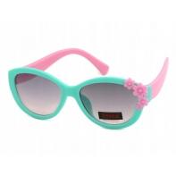 Okulary przeciwsłoneczne UV 400, z KWIATUSZKAMI miętowo-różowe