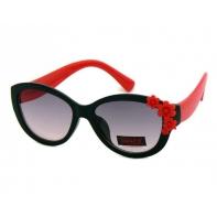 Okulary przeciwsłoneczne UV 400, z KWIATUSZKAMI czarno-czerwone