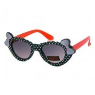 Okulary przeciwsłoneczne dziecięce UV 400 GROSZKI, czarno-czerwone
