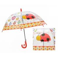 Automatyczna - przezroczysta głęboka parasolka dziecięca, biedronka