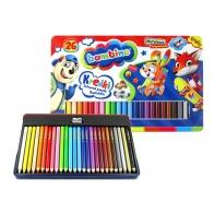 Grube kredki ołówkowe 26 kolorów Bambino + gratis, metalowe opakowanie