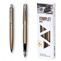 Pióro wieczne Zenith Omega + długopis, metalowy komplet złotym