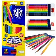 12 kredki ołówkowe trójkątne Astra Vision + temperówka