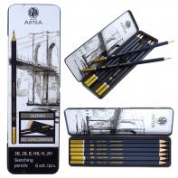 Zestaw 6 ołówków do szkicowania 3B-2H Astra