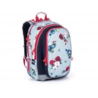 Plecak dwukomorowy dla dziewczynki Topgal MIRA 21008 G KWIATY I PASKI