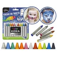 Kredki do malowania twarzy Kidea, 12 kolorów