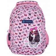 Plecak szkolny trzykomorowy AstraBag AB330 piesek z kokardkami