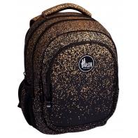 Plecak szkolny trzykomorowy HASH AB300, GOLDEN DUST
