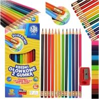 Kredki ołówkowe z gumką + temperówka, 12 kolorów ASTRA