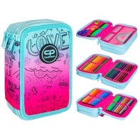 Piórnik potrójny z wyposażeniem Coolpack Jumper 3 Pink Scribble