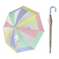 Przezroczysta pastelowa parasolka dziecięca z fioletową rączką
