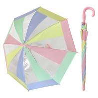 Przezroczysta pastelowa parasolka dziecięca z różową rączką